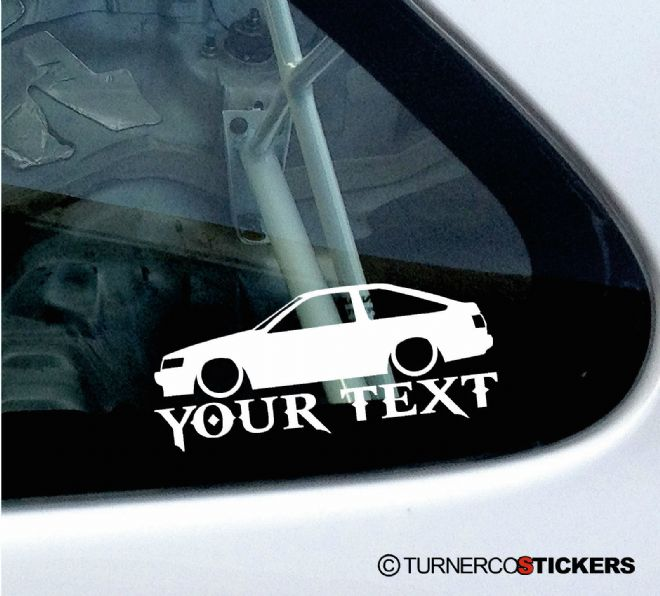 2x Custom YOUR TEXT Lowered car stickers - Toyota Corolla Levin GT Apex AE86
